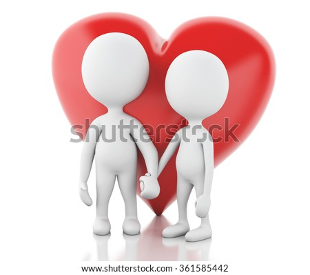 3d renderer image. White people and red heart. Couple in love. Isolated white background