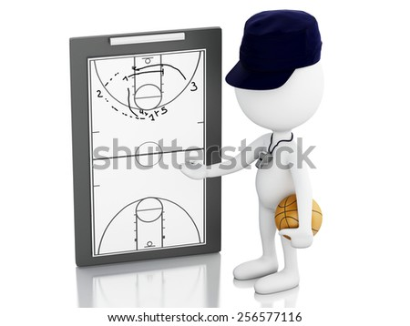 3d renderer image. White people coach with Clipboard and basketball. Isolated white background - stock photo