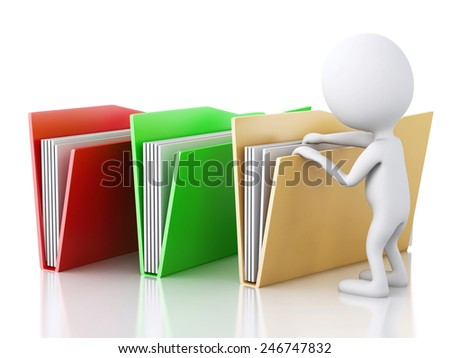 3d renderer image. White people examines folders. Isolated white background - stock photo