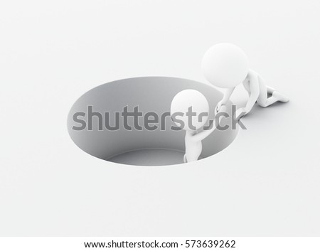 3d renderer image. White people holds the hand of the falling person. Team work and business concept. Isolated white background.