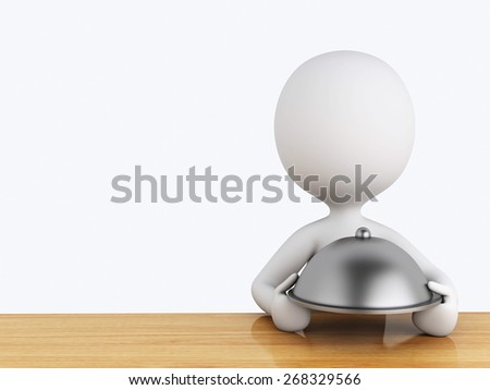 3d renderer image. White people in the kitchen with silver platter on white background - stock photo