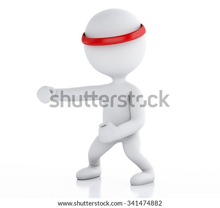 3d renderer image. White people karate fighter on white background. Sports concept