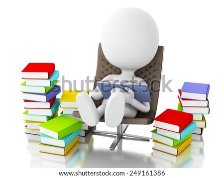 3d renderer image. White people reading a book. Isolated white background. - stock photo