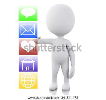 3d renderer image. White people with applications interface. Technology concept. Isolated white background - stock photo