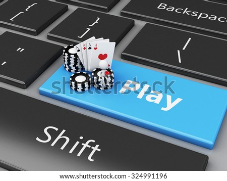3d renderer image. White people with chips and cards on the computer keyboard. Casino online games concept. - stock photo
