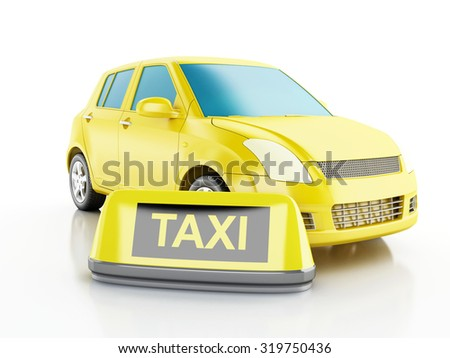 3d renderer image. Yellow taxi car. Isolated white background