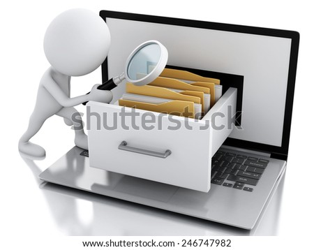 3d renderer. White people examines files with Laptop and folders. Data storage concept. - stock photo