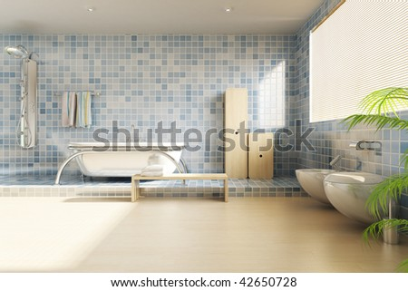 3d rendering a modern bathroom - stock photo