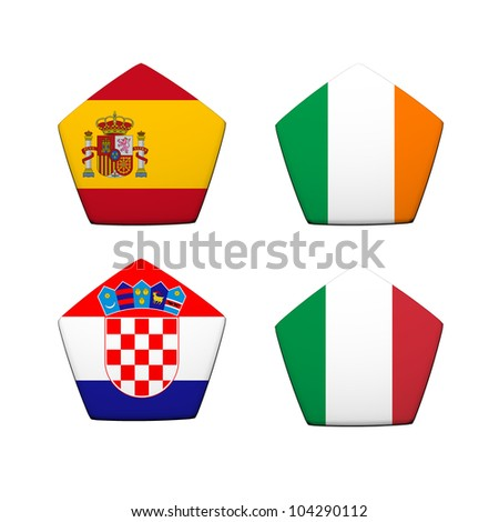 3d rendering a part of soccer ball with flag pattern, European Soccer Championship Group C - stock photo