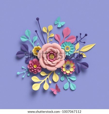 3 d rendering abstract round floral bouquet stock illustration 3d rendering abstract round floral bouquet botanical background bridal paper flowers pattern mightylinksfo
