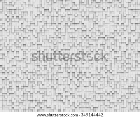 3D Rendering Abstract White Background volumetric pixel, Bas relief textured.