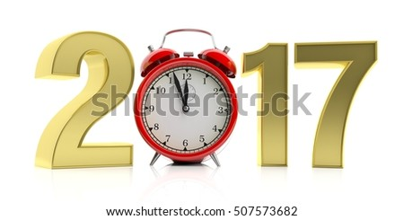 3d rendering alarm clock and number 2017 on white background
