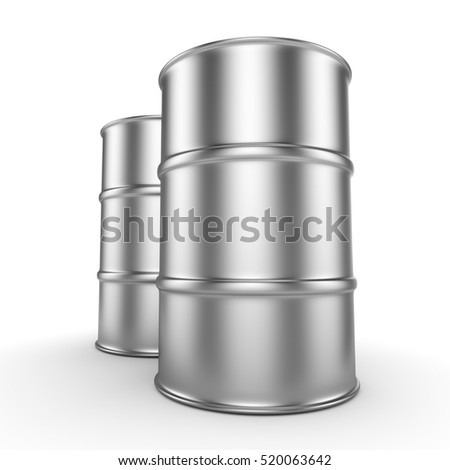 3D rendering aluminum barrel on a white background