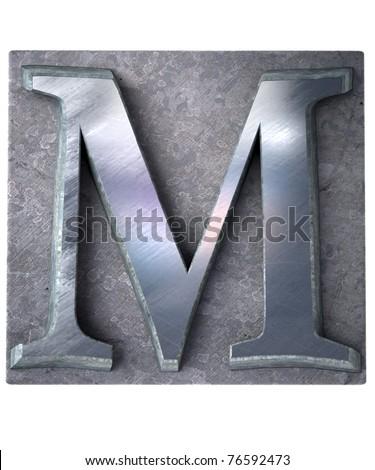 3D rendering an upper case M   letter in metallic typescript print (part of a matching alphabet) - stock photo