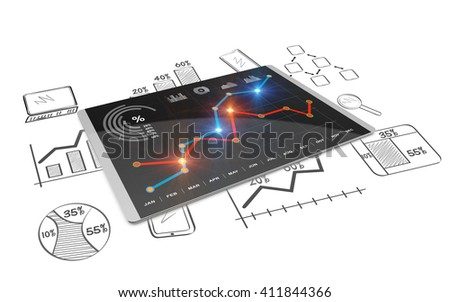 3D Rendering analysis of financial data in charts, accounting, taxes, banking, statistics, vision for the future  - stock photo