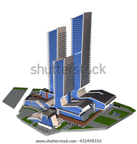 3d rendering and design - administrative and residential  tower - main view - stock photo