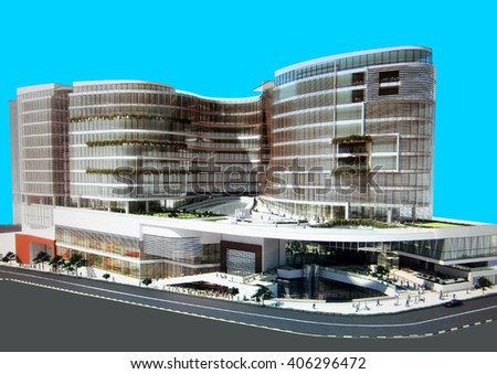 3d rendering and design - administrative and shopping center - main view - stock photo