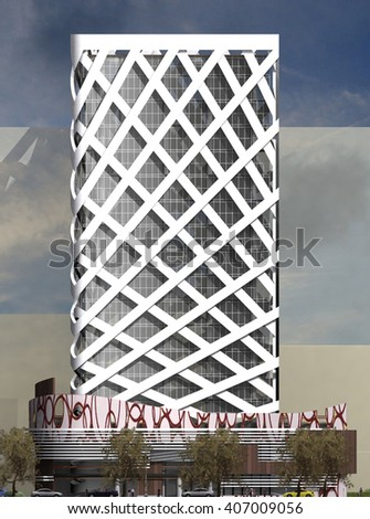 3d rendering and design - administrative tower - elevation  - stock photo