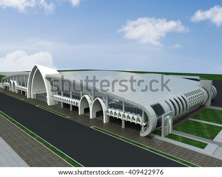 3d rendering and design - airport - main view - stock photo