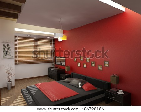 3d rendering and design- modern apartment - red bed room