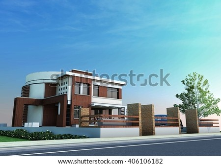 3d rendering and design - modern villa - west view - stock photo