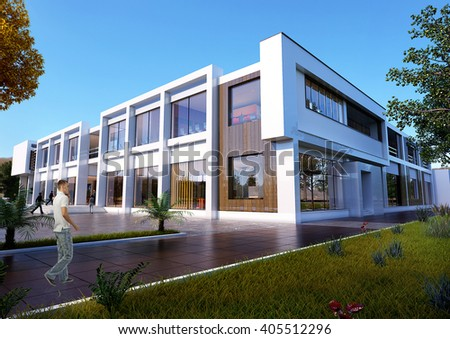 3d rendering and design - shopping and sport center - view from park