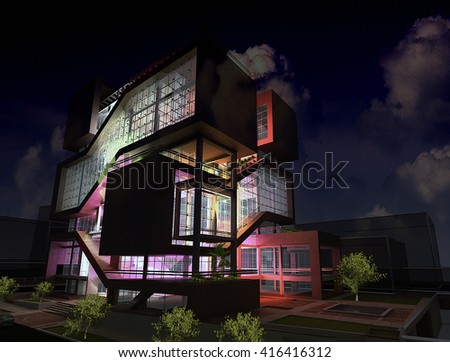 3d rendering and design - shopping mall and administrative center- night view
