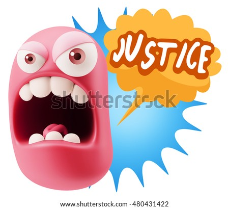 3d Rendering Angry Character Emoji saying Justice with Colorful Speech Bubble.