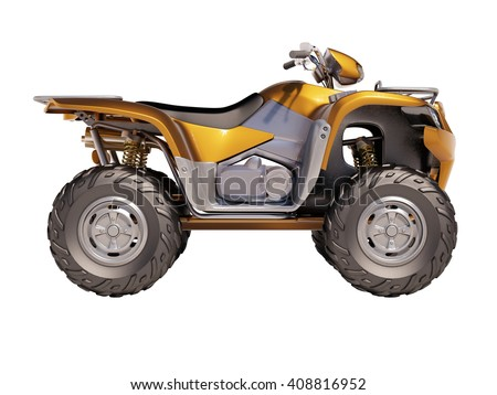 3d rendering. ATV quad bike isolated on white background - stock photo