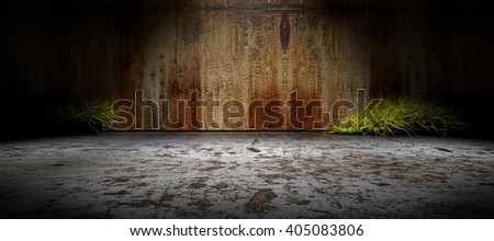 3D rendering background.Old wall and cement floor background illuminated by spotlight - stock photo