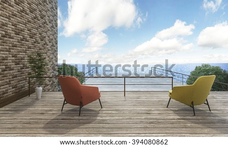 3d rendering 2 beautiful chairs on outdoor terrace with good view - stock photo