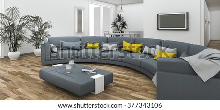 3d rendering beautiful colorful curve sofa with contemporary floor - stock photo