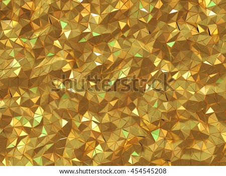 3D rendering beautiful shiny golden triangle geometry design background.