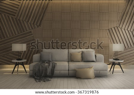 3d rendering beautiful white clean sofa with lamp and wood wall - stock photo