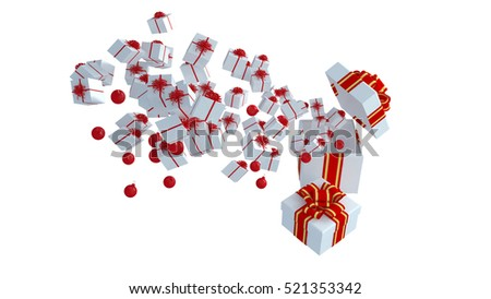 3D rendering, Big gift box and small gift box on white background.
