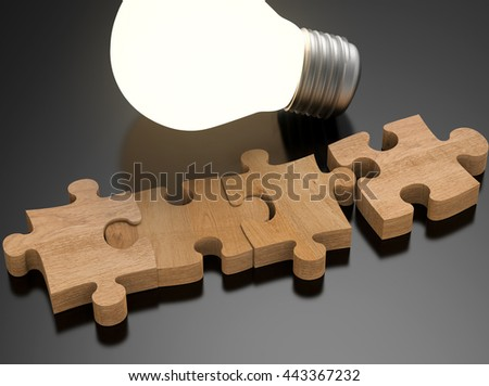 3d rendering blank jigsaw pieces with shiny light bulb