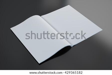 3d rendering blank magazine opened - stock photo