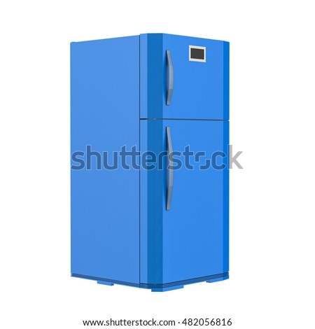 3d rendering blue fridge isolated on white