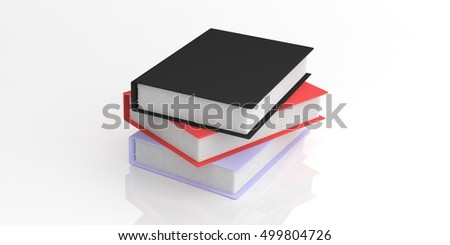 3d rendering books stack on white background