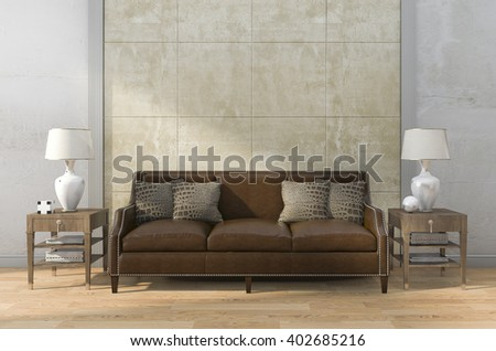 3d rendering brown leather sofa with beautiful texture wall - stock photo