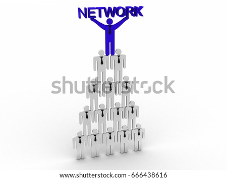 3d rendering business leadership holding text network
