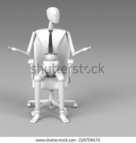 3d rendering businessman doll is sitting on chair - stock photo