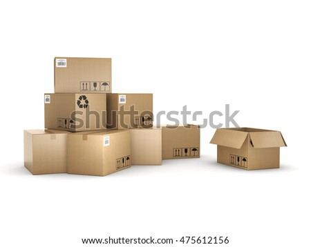 3D rendering cardboard boxes on a white background