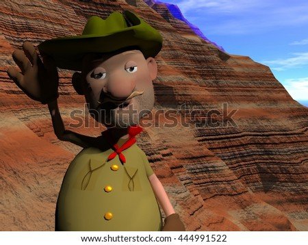 3d rendering cartoon illustration of an old prospector waving hellow