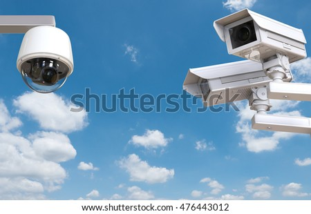 3d rendering cctv camera or security camera on blue sky background