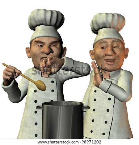 3D Rendering Chef tasted salty soup - stock photo