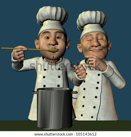 3D Rendering Chef with hot soup - stock photo