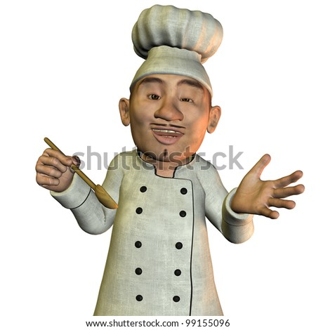 3D Rendering Chef with soup spoons - stock photo