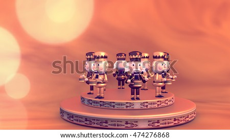 3d Rendering Christmas Musical Ornament Cute Cartoon Nutcracker Soldiers Playing Snare Drums On The Stage