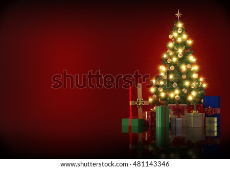 3d rendering - Christmas tree with gifts and copyspace